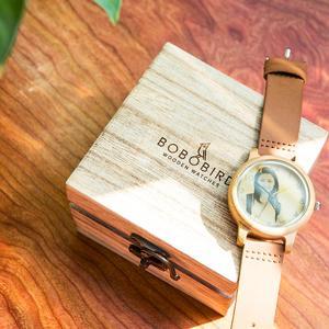 Image 5 - Bobo bird relógio para casal, relógio para casal com foto a laser de alta precisão pulseira de couro genuíno personalizar presente original para natal ele pode