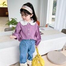 Blouses Kids Clothing Long-Sleeve Girls Korean-Design Cotton New-Arrival
