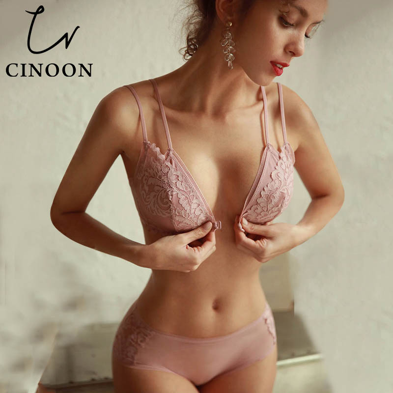 CINOON French Lace Front Closure Bra And Panties Set Women Sexy Lingerie Set Wire Free Bralette Embroidery Underwear Brassiere