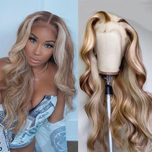 Colored Wig Highlight Blonde Human-Hair Body-Wave Transparent Women Lace-Part HD