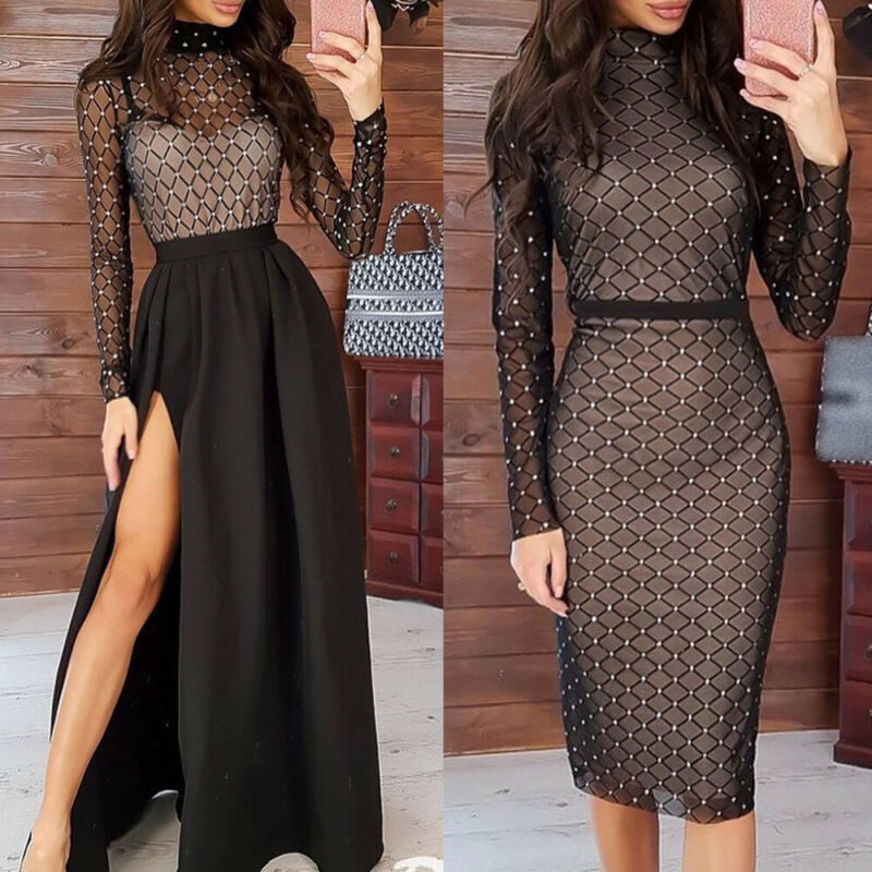 Women Fashion Bodycon Mesh Long Sleeve Hot Drilling Dress 2020 Spring Ladies Evening Party Club Turtleneck Slit Short Midi Dress