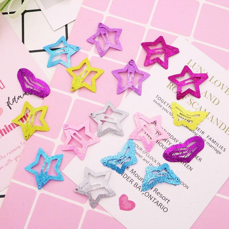 12 Pcs/set Star Butterfly Heart Shape Hair Snap Clips 3cm Hairpins Colorful Glitter Pentagram Metal Hair Clips Cute Hair Clips