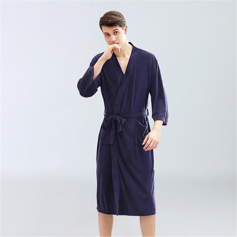 Loose Homewear Couples халат Casual Summer Thin Nightrobe Solid Toweling Terry Robe100% Cotton Robe Soft Ventilation Bath Robe
