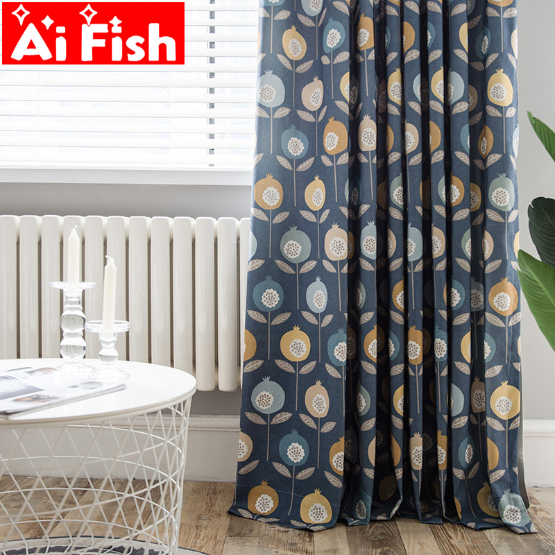 Simple and Elegant Window Treatments Curtains For Living Room Creative Print Pomegranate Pattern Kitchen Curtains Drape MY003#5