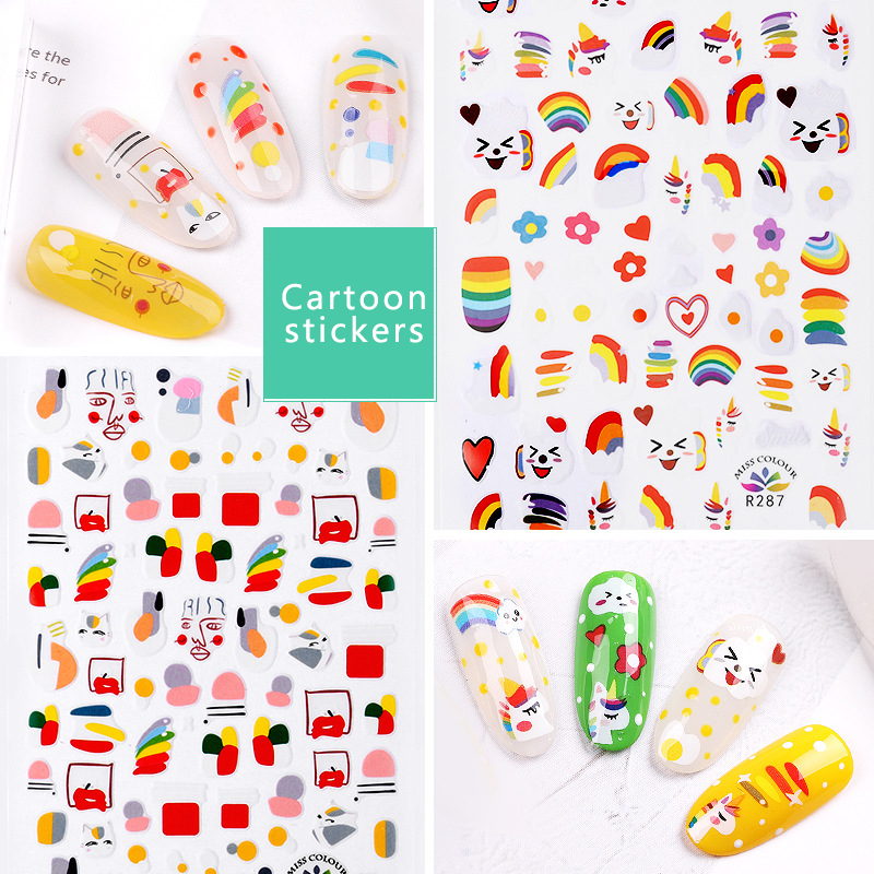 Cartoon Anime Nail Stickers Flower Design Sliders For Nails Foil Abstract Geometry Nail Art Water Sticker Tips Decorations