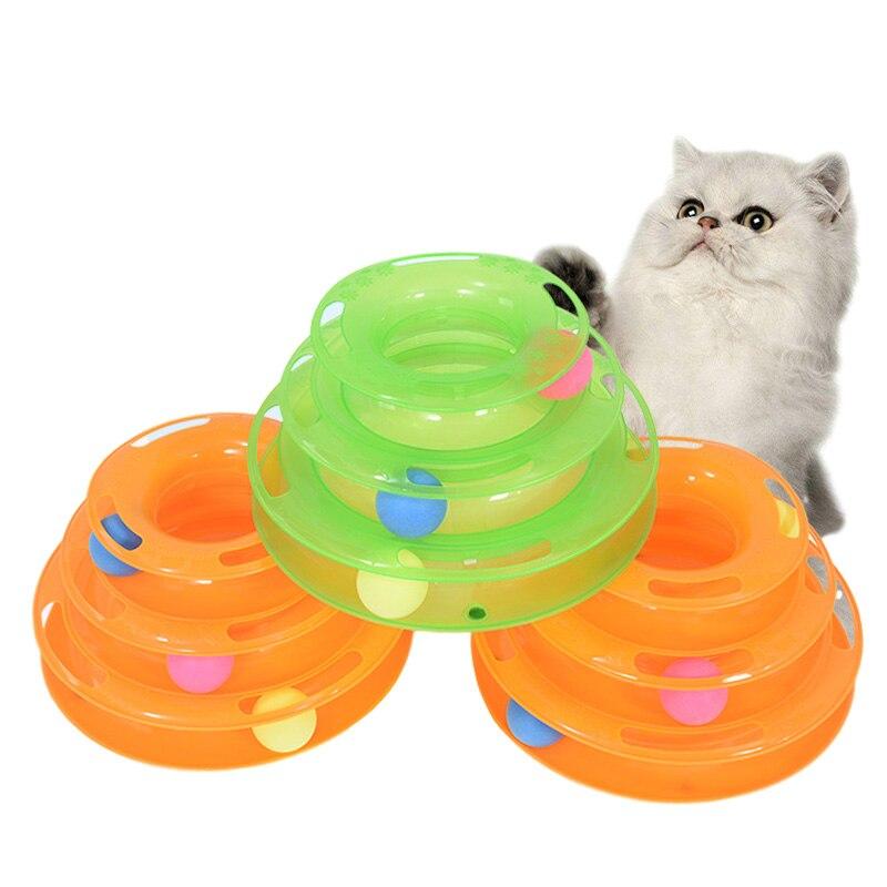 3 Levels Pet Cat Toy Intelligence Tower Tracks Disc Amusement Plate Interacitve Cat Toys Ball Training IQ Cat Kitten Toys