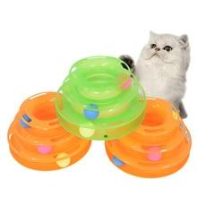 Juguete para gatos de 3 niveles torre de inteligencia pistas disco de diversión placa Interacitve juguetes para gatos pelota de entrenamiento IQ gato gatito Juguetes