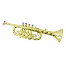 Trompete brinquedo com 3 teclas coloridas instrumento musical presente para crianças