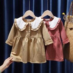 Детское платье с длинными рукавами, клетчатая Футболка с воротником «Питер Пэн» и оборками для маленьких девочек, весна 2021