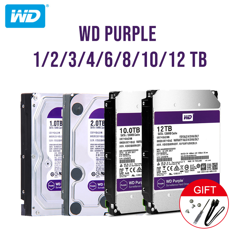 "Western Digital WD Purple Surveillance HDD 1TB 2TB 3TB 4TB SATA 6.0Gb/s 3.5"" Hard Drive For Cctv Camera AHD DVR IP NVR"