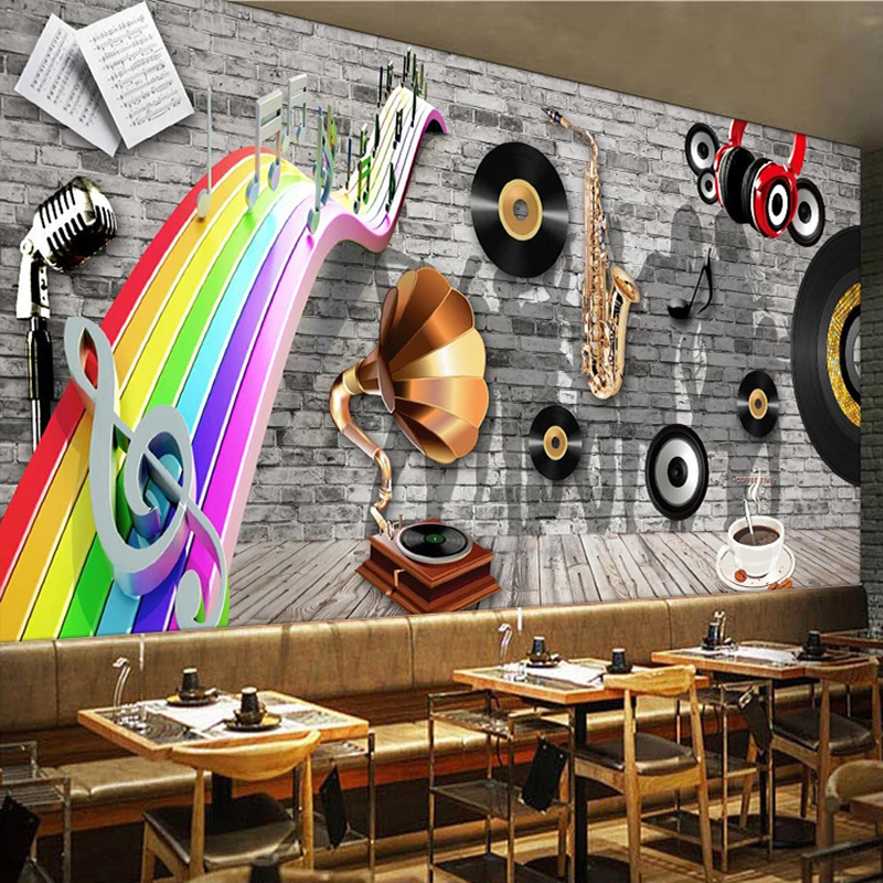 Custom Any Size Mural Wallpaper Retro Brick Wall Musical Instrument Photo Wallpaper Restaurant Bar KTV Cafe Background Wallpaper