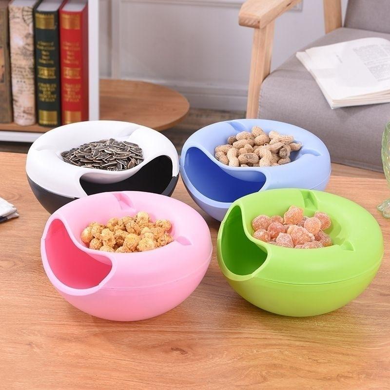 1 шт. Творческий дом гаджеты ленивый миска для снеков Пластик двойные слои коробка для хранения еды для перекуса чаша тарелка для фруктов дл...