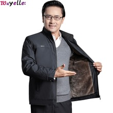 2019 New Mens Jacket Plus Velvet Thick Middle-Aged Autumn and Winter Dad Mature Style 50 Years Old Gray Male Clothing