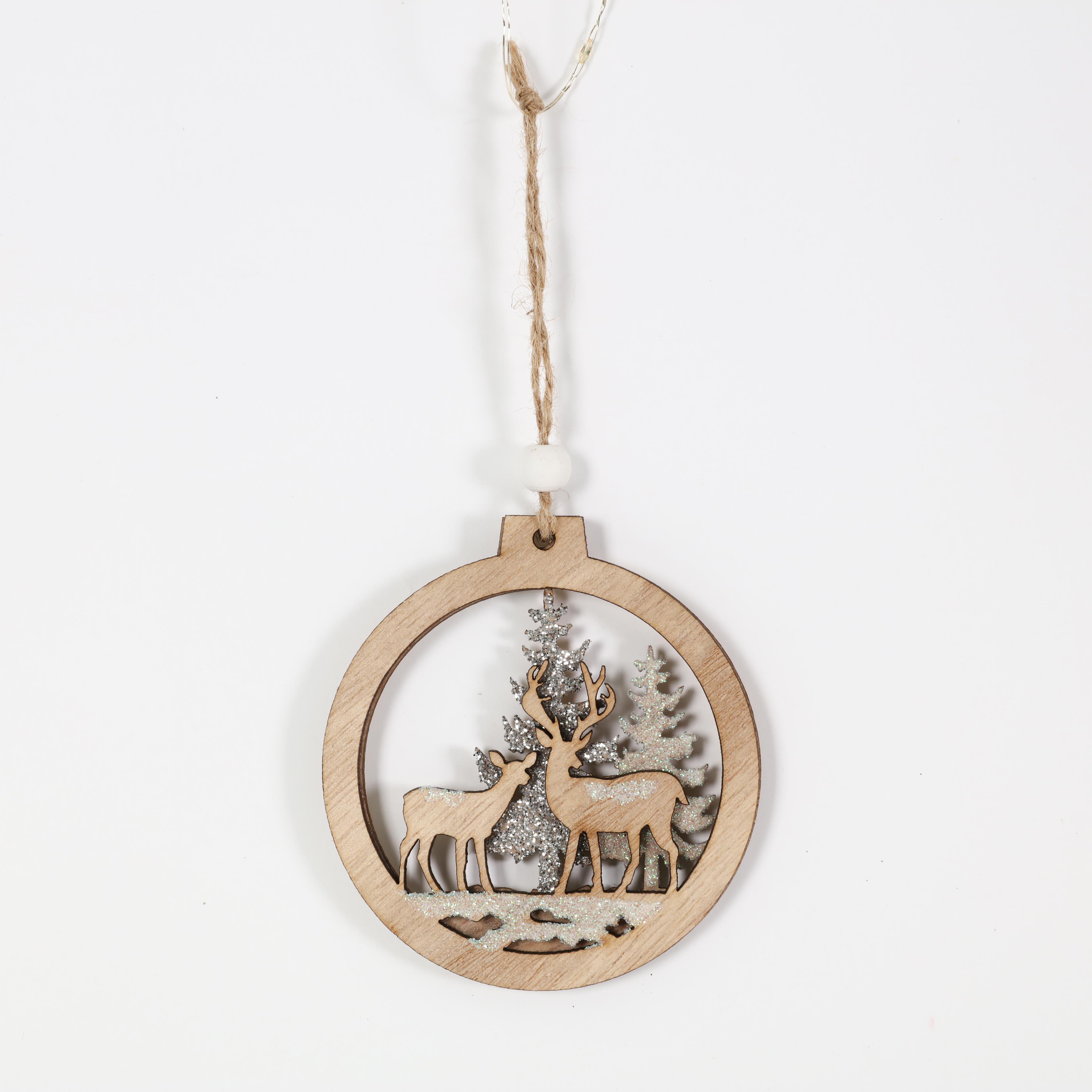 Рождественская деревянная круглая форма подвесное украшение дерево подвески с оленем дерево дизайн для фестиваля украшение сделано из фанеры|Кулоны и подвески| | АлиЭкспресс