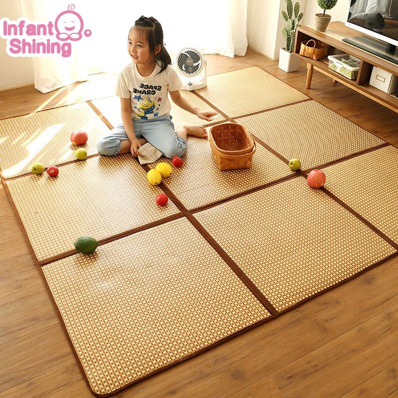 Infant Shining Rattan Play Mat Foldable 1CM Thickness Baby Climbing Mat 130X195CM Large Rug Living Room Tatami Blanket Carpet
