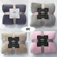 Мягкое теплое Флисовое одеяло в клетку, фланелевое одеяло с большой сеткой, плотное дышащее одеяло, Прямая поставка