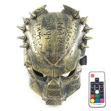 Neuheit Cosplay Kostüm Requisiten Volle Gesicht LED Maske Scary Halloween Masque Bühne Dance Performance Zubehör mit Fernbedienung