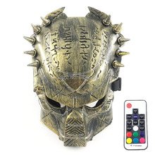 Novelty Cosplay Costume Props Full Face LED Mask Scary Halloween Masque Stage Dance Performance Accessories with Remote Control