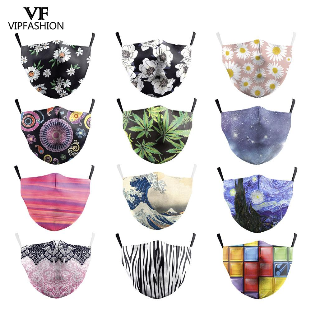 VIP FASHION Adult Cute Unicorn Printed Face Mask 2-layer Protective Dust-Proof Anti-Fog Haze Reusable Mouth Cover Can Put Filter
