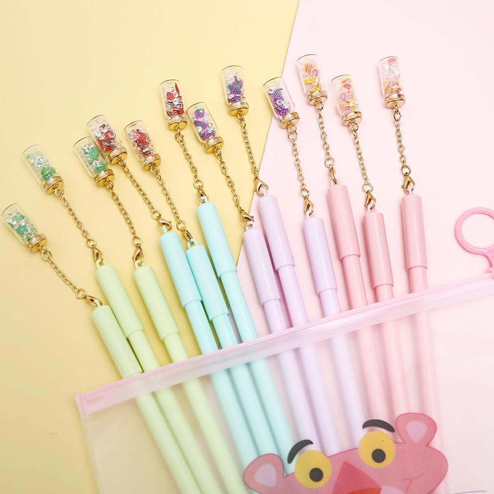12Pcs/pack Novelty Cute Flower Bottle Gel Pens Blue Ink Kawaii School Office Stationery Wedding Christmas Gift Pencil Case Bag