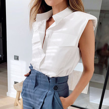 Padded Shoulder Tops Women Blouse Shirt