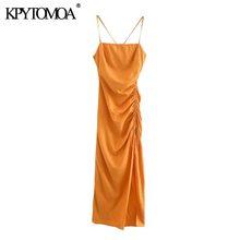 KPYTOMOA Women 2020 Chic Fashion Draped Detail with Adjustable Tie Midi Dress Vintage Backless Side Zipper Straps Female Dresses