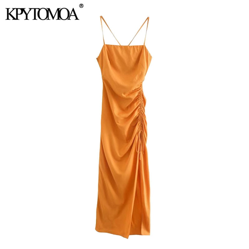 KPYTOMOA Women 2021 Chic Fashion Draped Detail with Adjustable Tie Midi Dress Vintage Backless Side Zipper Straps Female Dresses