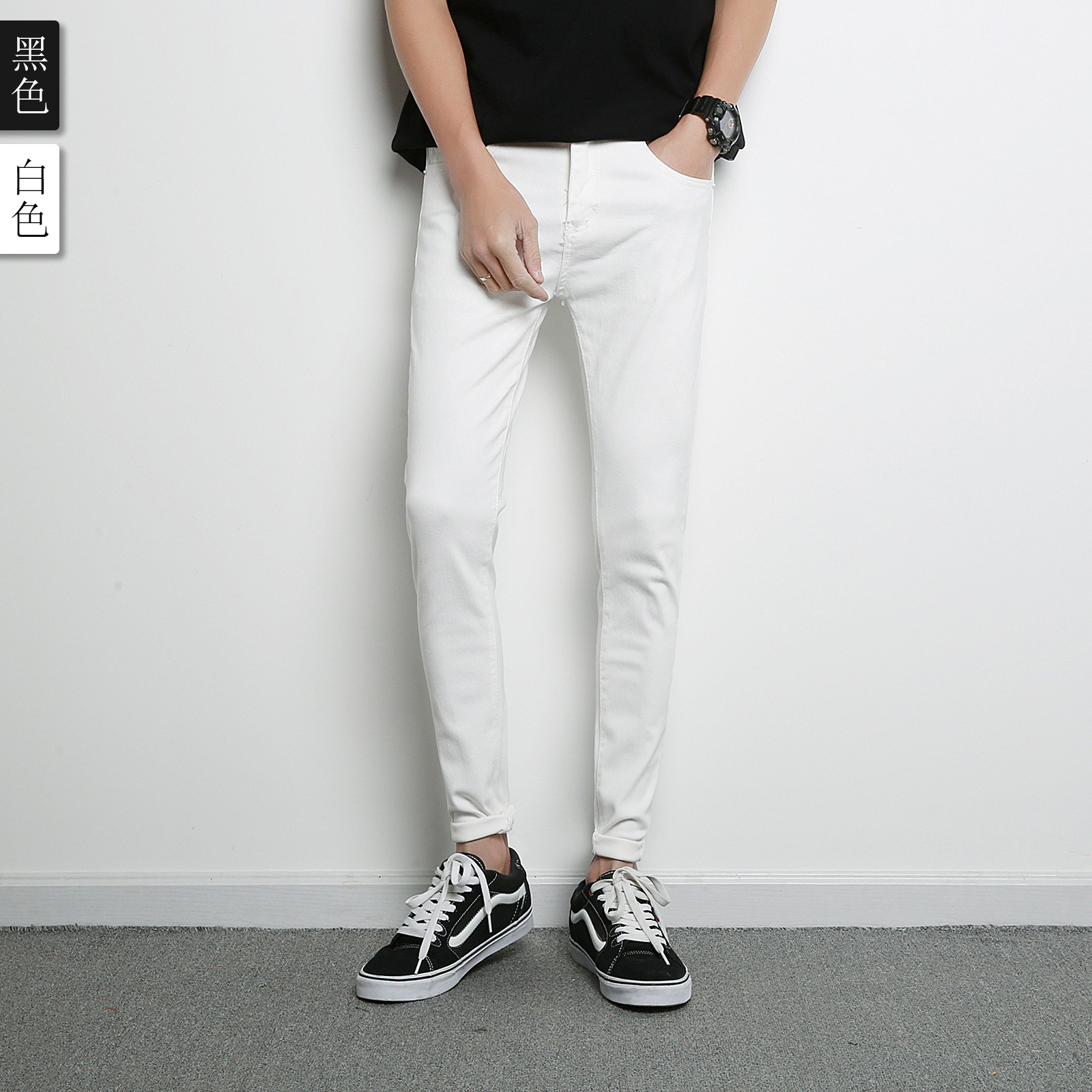 2018 Spring And Summer Cowboy Trousers Men Korean-style Slim Fit Couples Cowboy White Slim Fit Pants Trousers