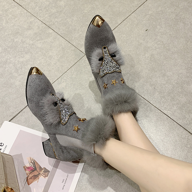 W- Thick and fashion trend new short boots warm daily non-slip increase height winter comfortable personality snow boots women 43