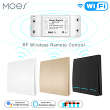RF433Mhz Wifi Wireless Remote Control Smart Switch Wall Panel Transmitter Smart Life Tuya APP Works with Alexa Google Home cheap MOES Ready-to-Go Receiver+Controller Slot 2 Channels RF433Mhz+Wifi Wireless Remote Control Ce CCC RoHS Plastic IEEE 802 11 b g n