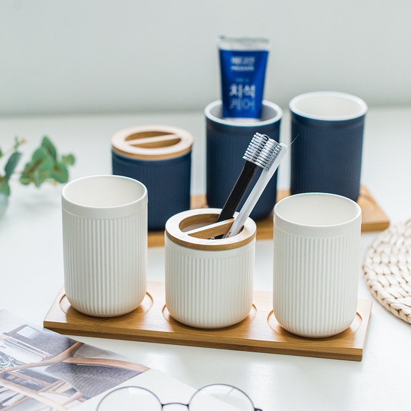 Nordic brush wash Cup mug creative family set Ceramic toothbrush holder Striped black blue white image