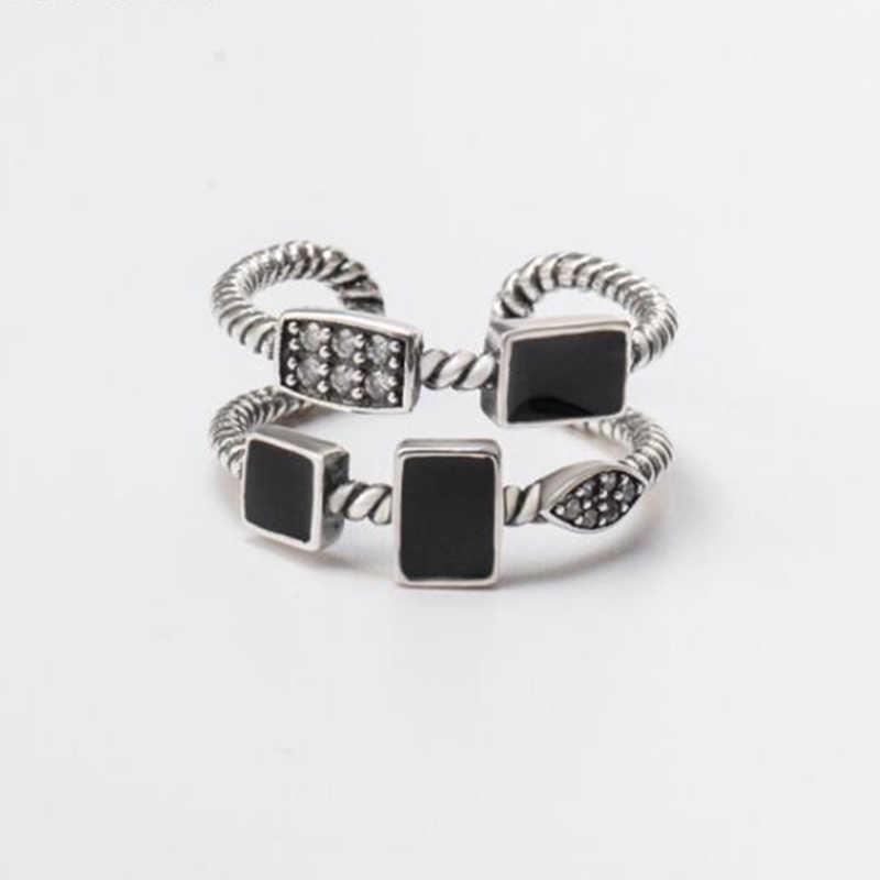 ผู้หญิง Retro แหวนเงินสีดำ CZ Zirconia แหวนเงินแท้ 925 แหวน