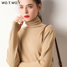 WOTWOY Autumn Winter Basic Knitted Turleneck Sweater Women Slim Fit Long Sleeve Cashmere Sweaters Women White Pink Pull Femme