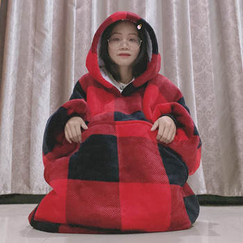 Winter Thick Comfy TV Hooded Blanket Sweatshirt Plaid Warm Fluffy Huge Blanket Adults and Children Soft Fleece Hoodie Blankets
