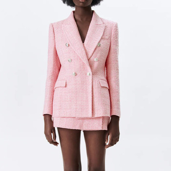 New style women's jacket spring 2021 pink lapel long-sleeved double-breasted European and American style sub-textured blazer