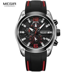 Image 3 - Megir herren Chronograph Analog Quarz Uhren Mode Rubber Strap Sport Armbanduhr mit Leucht Hände für Jungen 2063GS BK 1