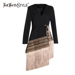 TWOTWINSTYLE Patchwork Embroidery Indie Folk Blazer For Women V Neck Long Sleeve Tassel Female Suits 2019 Autumn Fashion New