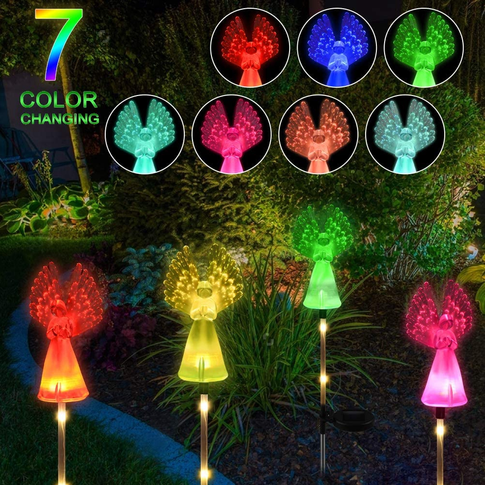 2 Pack Angel Solar Light Outdoor Solar Garden Stake Light Color Changing LED Solar Landscape Pathway Light For Garden Patio Lawn
