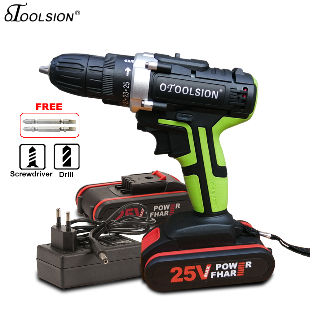 New 25V Electric Drill 25+1 Torque Screwdriver Electric Drill 1.5Ah Cordless Drill Batteries For Screwdrivers 45 N.m Screwdriver