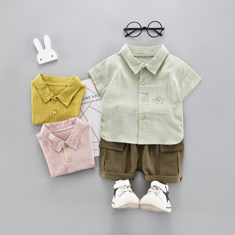 Children Clothes For Boys Summer Turn-down Collar T-Shirt + Green Shorts 2 PCS Kids Clothes Cotton Holiday Kit