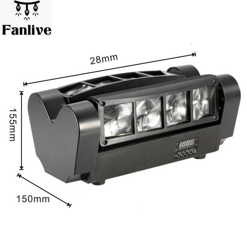 الصمام تتحرك رئيس ضوء مصغرة العنكبوت ديسكو ضوء 8x3W RGBW 4 اللون LED أضواء DMX512 المحمولة المرحلة ضوء