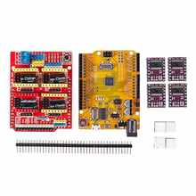 CNC V3 Shield + UNO R3 for Arduino Compatible Board + 4x TI DRV8825 StepStick Stepper Drivers Red+purple(China)