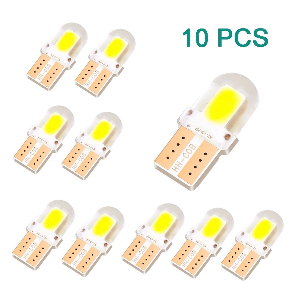 2019 10 pces t10 led lâmpada interior do carro canbus livre de erros t10 branco 5730 4/8/12 smd led 12 v cunha lateral do carro luz lâmpada branca
