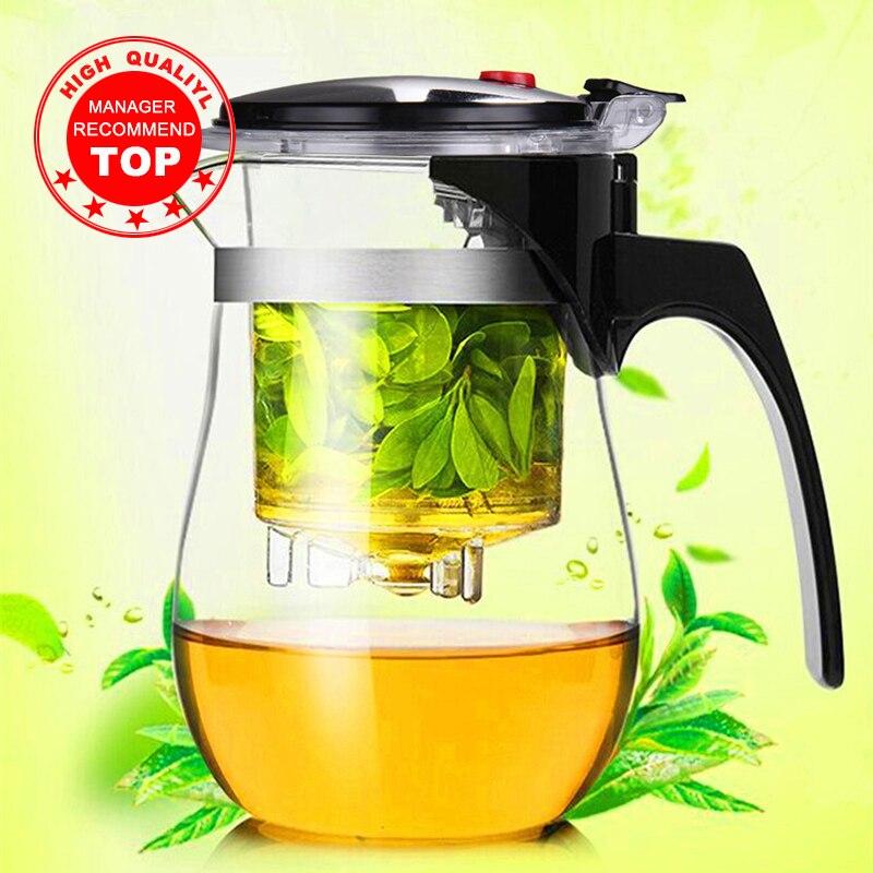 عالية الجودة مقاومة للحرارة أبريق شاي زجاجي الصينية الكونغ فو طقم شاي Puer غلاية أقداح قهوة زجاجية صانع مريحة مكتب براد شاي