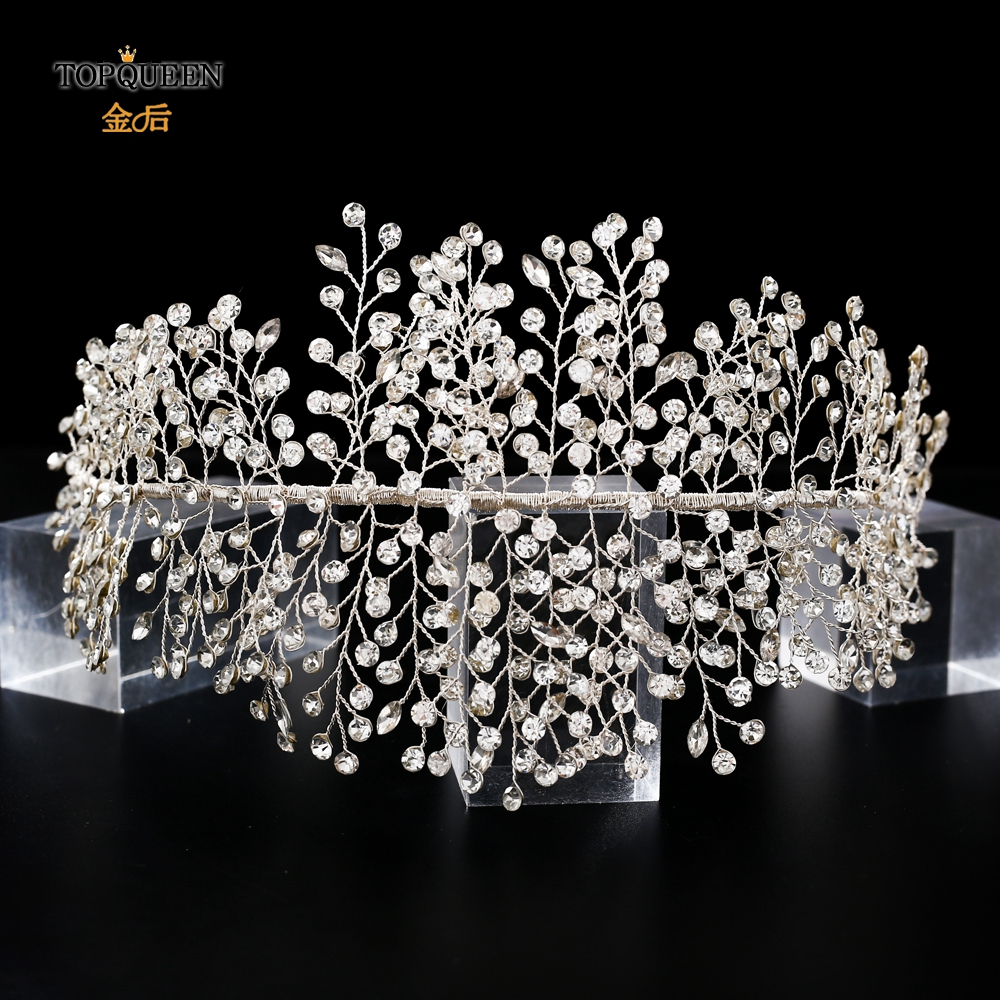 TOPQUEEN Luxury Crystal Wedding Headband Handmade Rhinestone Bridal Headpieces Wedding Hair Jewelry Headband Accessories HP258