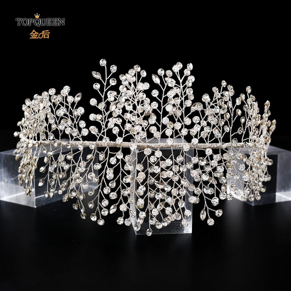TOPQUEEN Luxury Crystal Wedding Headband Handmade Rhinestone Bridal Headpieces Wedding Hair Jewelry Headband Accessories HP258