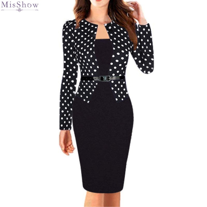 Cocktail Dresses Knee Length Short Coctail Party Gown Bodycon Robe Formal 2020 Polk Dot Black Onepice Sleeved With Belt