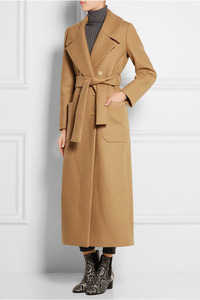 Image 2 - Solid Wide waisted Women Long Woolen Coat Double Breasted Warm Womens Jacket Elegant Casual Cashmere Coat and Jacket
