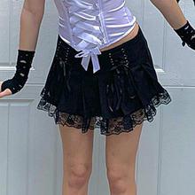 Женская кружевная мини юбка goth dark Готическая плиссированная