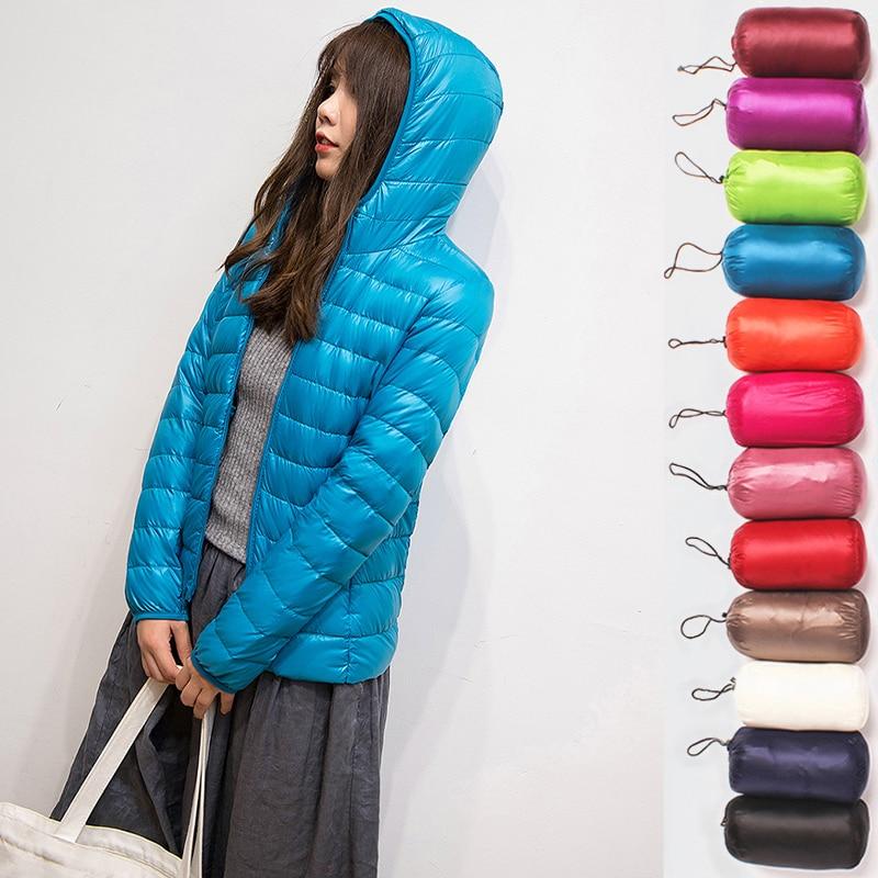 Женская куртка с капюшоном на осень и зиму, высокое качество, белый пуховик на утином пуху, Женское пальто, ультра светильник, одноцветные куртки, портативные парки Пуховики      АлиЭкспресс